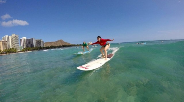 Nicole surfing for the first time in Waikiki - Honolulu, HI