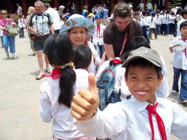 Nicole with school children at the Temple of Literature in Hanoi, Vietnam