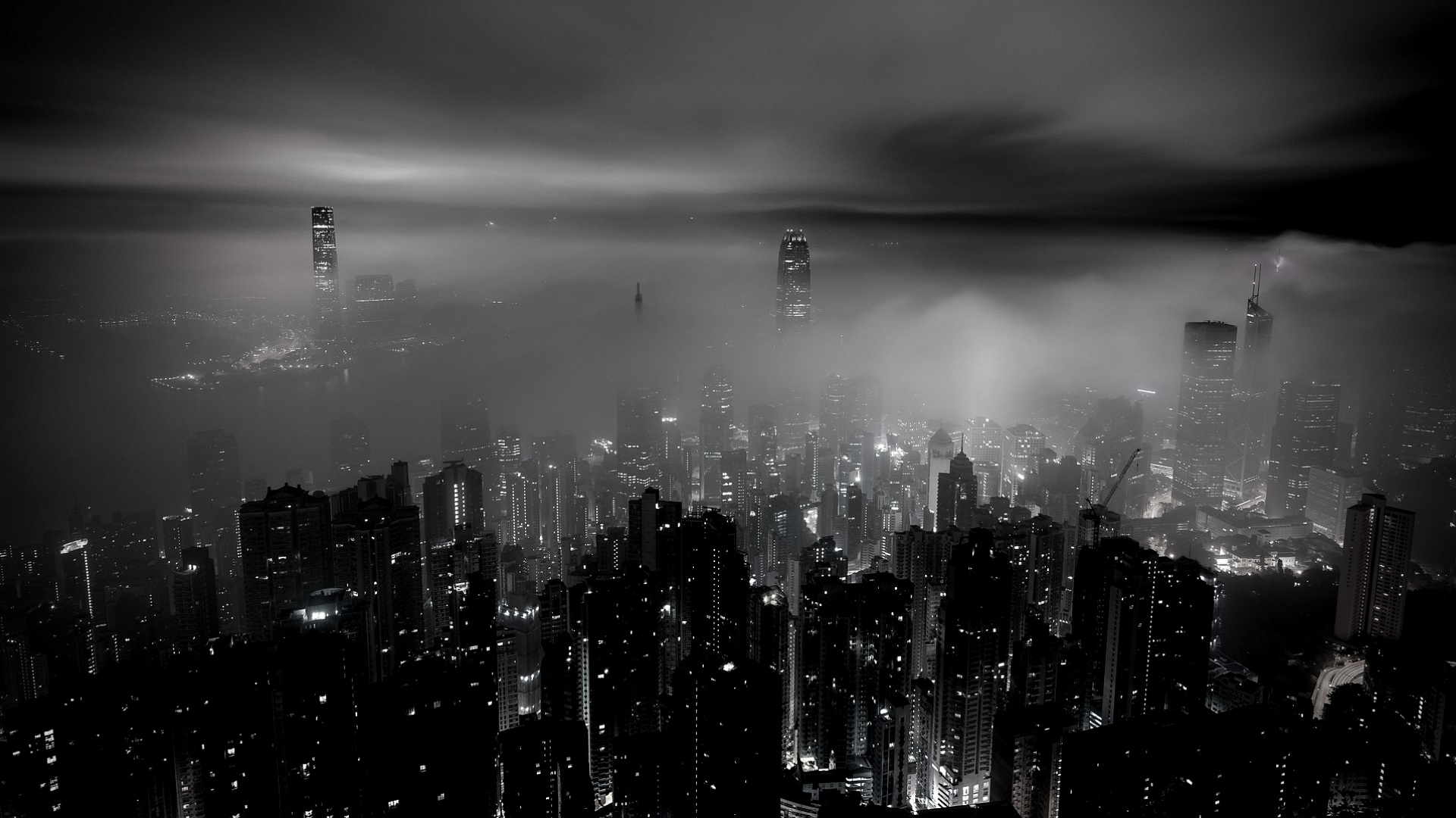 Postcard Press Featured - Black and White Photo of Hong Kong skyline in fog