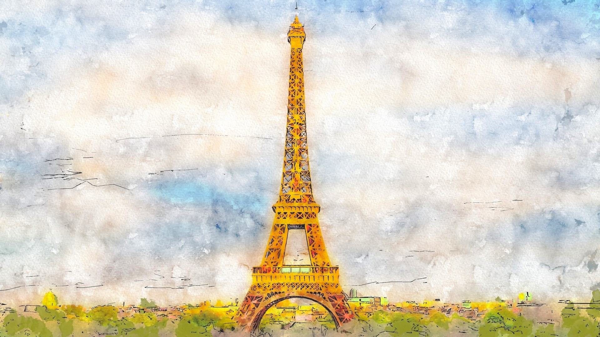 Image of a watercolor painting of the Eiffel Tower, Paris