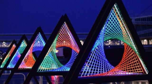 Toronto art installation lit at night