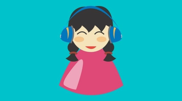 Illustration of a girl with headphones