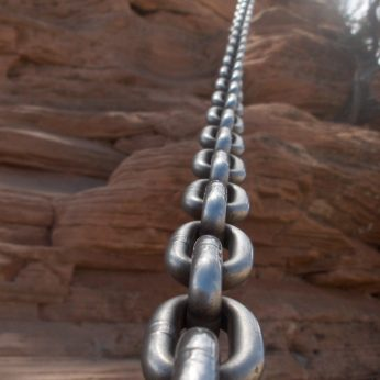 This chain handhold would have looked more inviting had it not been so hot outside!
