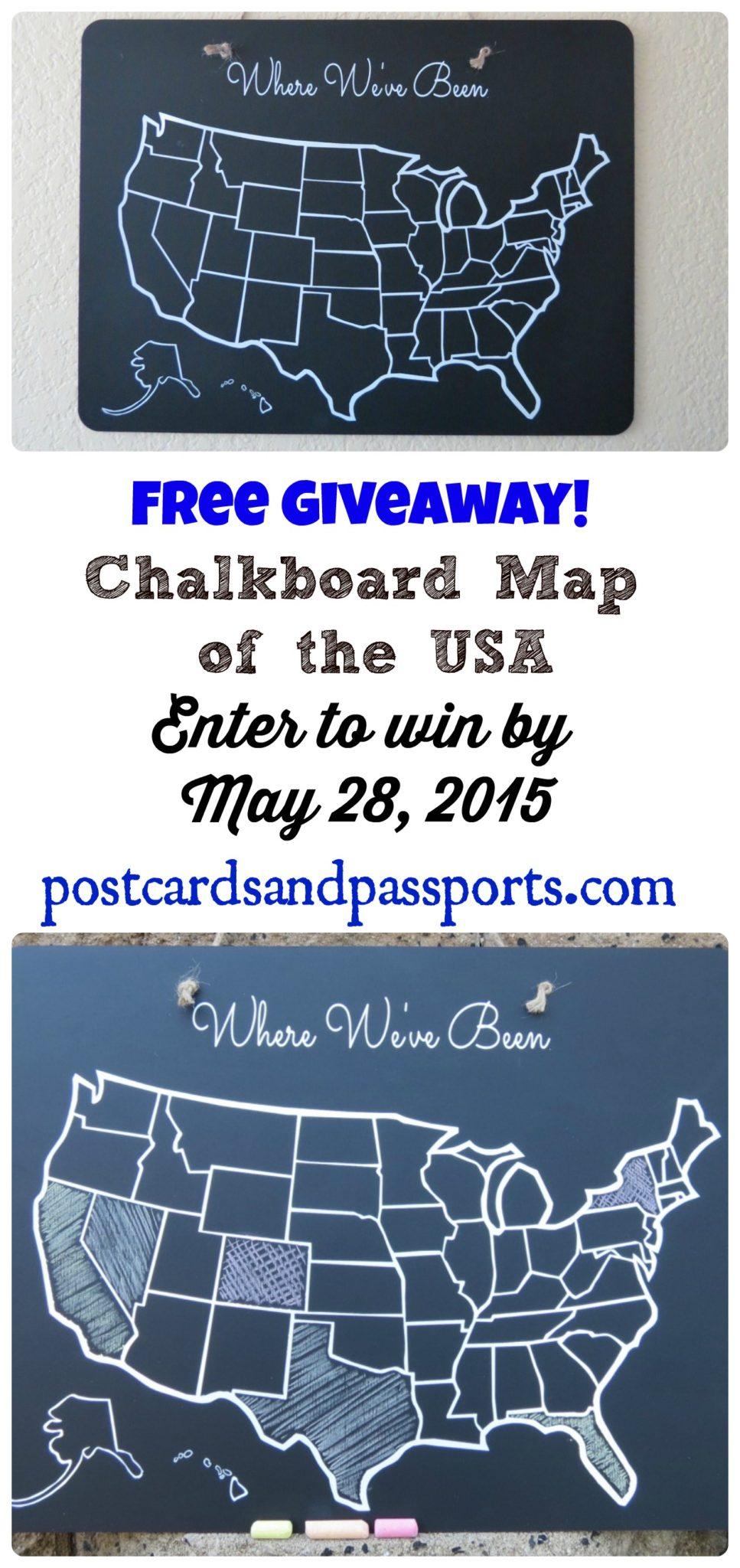 Chalkboard Usa Map Giveaway Postcards Passports