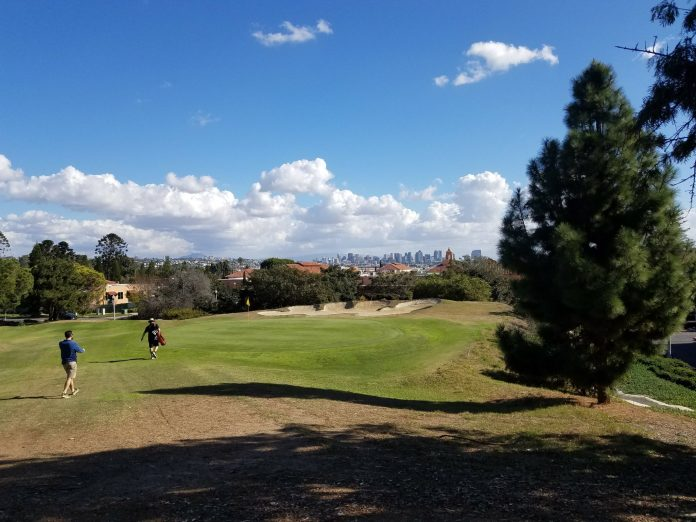 View of downtown San Diego from Sail Ho golf course