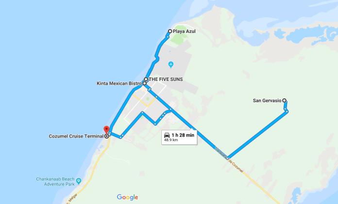 Cozumel map
