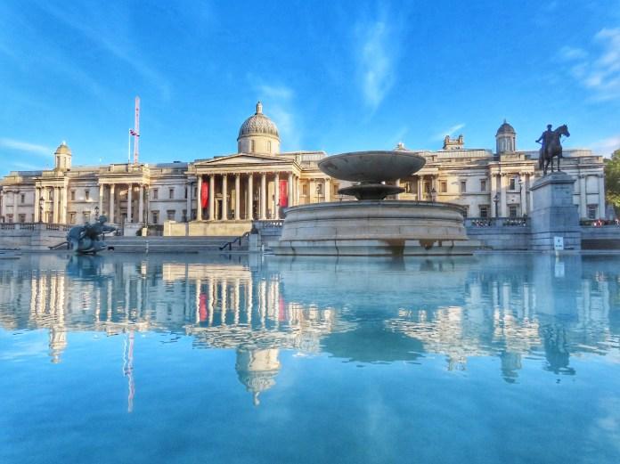 Trafalgar fountain and buildings