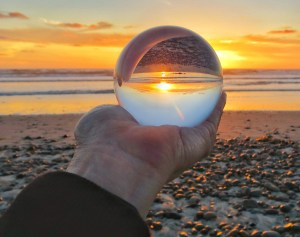 Sunset in lens ball