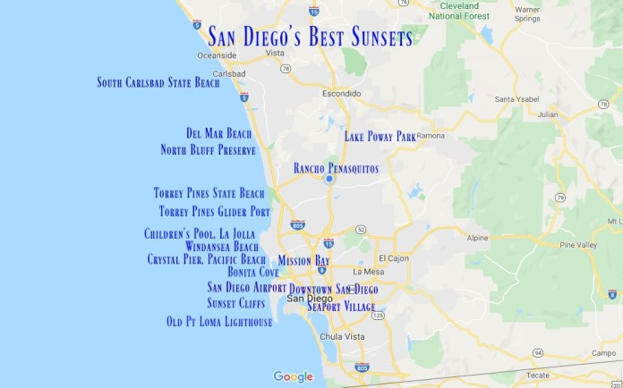 San Diego's Best Sunsets map