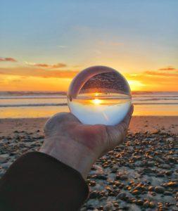 Lens ball sunset