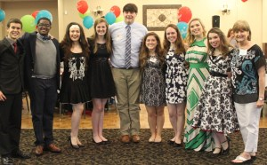 The Montgomery County students who received Conroe Service League's nine one-year fine-arts scholarships in May 2015 are (from left to right) Michael Eppinette, Jamail Chachere- Stuart, Katarina Yanko, Jessica Brown, Ryan Dumas, Megan Curtis, Sara Meidel, Caroly Orr, and Abby Orr, along with CSL Scholarship Chairman Janie Kemp.