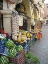 A market on the main drag of Corfu