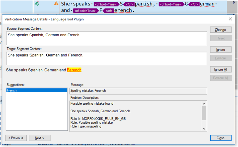 LanguageTool Plugin for SDL Trados Studio — Spelling