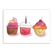 Ansichtkaart Cupcakes van Post Leeft