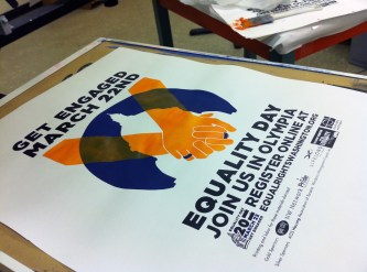 Screen printing posters for Equality Day
