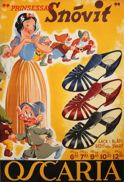 original vintage poster oscaria shoes snow white