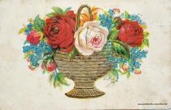 Grusskarte, Blumenstrauß, Blumenschale, Rosen, Prägung, 1906