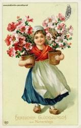 Namenstag, Maedchen, Blumen, Holzschuhe