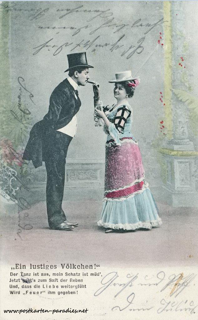 Postkarte Liebe, Paar, Gedicht, Zigarre, 1904