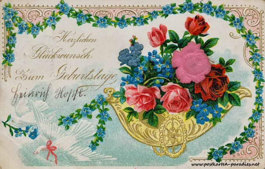 historische Geburtstagskarte Vergissmeinnicht Rosen Wagen Prägung Goldauflage 1905