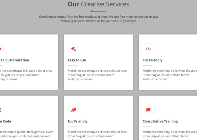 2. OUR CREATIVE SERVICES WIDGET SECTION