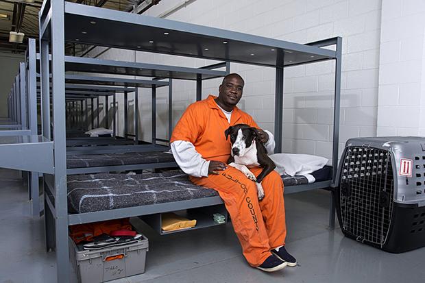 ATLANTA,GA - APRIL 27, 2015: Canine Cellmates program at the Fulton County Jail for Atlanta Magazine in Atlanta, Georgia. (Photo by Kelly Kline)