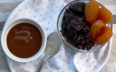 Raisin and apricot purée