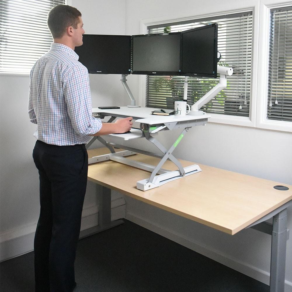 desk chair exercises hanging in room deskrite 100 sit-stand platform from posturite
