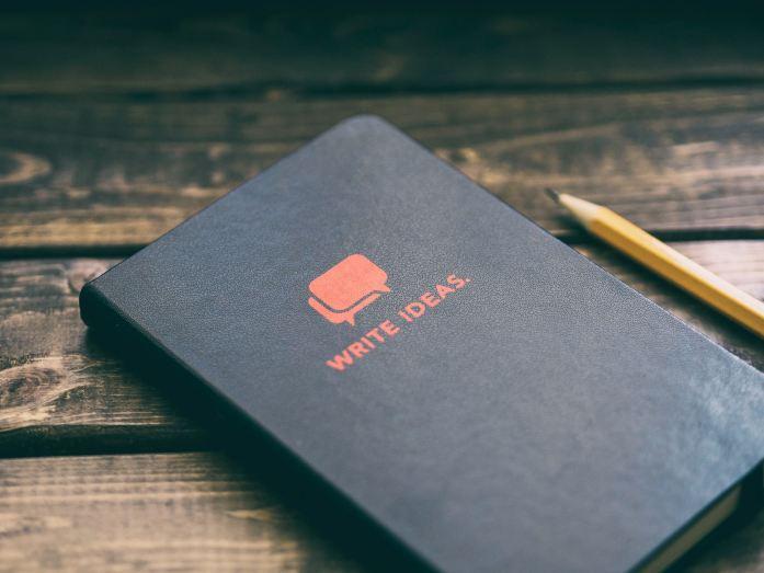 Write Ideas book on brown wooden board