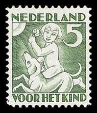 NVPH 233 Kinderzegel 1930 - zomer, kind met hond