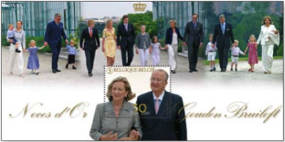 Koningspaar-belgie-postzegelvelletje