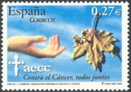 3 postzegel strijd tegen kanker Spanje 2004 50th Anniversary of the Spanish Cancer Association