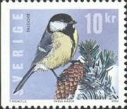 1 postzegel koolmees Parus major Zweden 2004