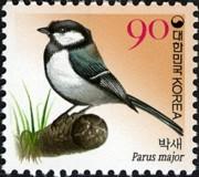 11 postzegel koolmees Parus major Zuid Korea 2006