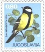 2 postzegel koolmees Parus major Joegoslavië 1974