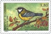 6 postzegel koolmees Parus major Principat Andorra 1996