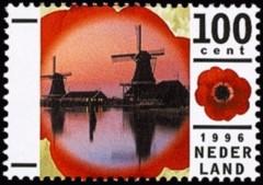 NVPH 1681 - Molens Zaanse Schans met anemoon