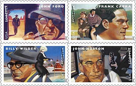 vier postzegels met portretten van vier grote filmregisseurs, n John Ford, Frank Capra, Billy Wilder en John Huston.