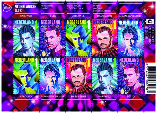 Nederlandse DJ's op postzegels PostNL velletje