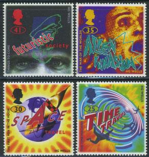 HG Wells science fiction postzegels