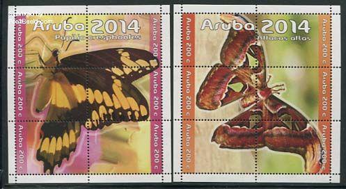 Postzegels Aruba vlinders 2014