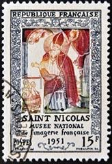 sint nicolaas op Franse postzegel