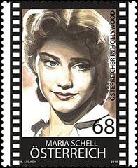 Maria Schell postzegel Oostenrijk 2015