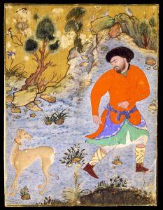 Perzisch schilderij uit 1555. Jachttafereel met Saluki..