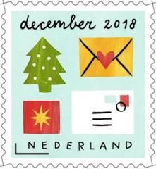 Decemberzegel 2018 - enveloppen met kerstmotieven