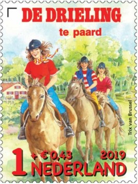 Kinderpostzegel 2019 - De Drieling te paard