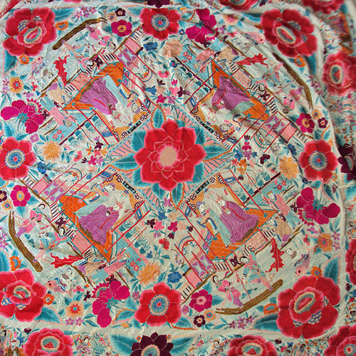 Antique Textiles Large Vintage Embroidered Silk Shawl China