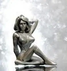 A platinum statue of a woman