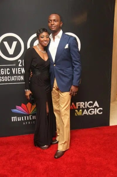 IK Osakioduwa and wife at  AMVCA 2013.