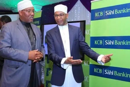 KCB Group Chief Executive Officer Mr. Joshua Oigara and Sheikh Ibrahim Lethome a member of the KCB Sharia Advisory Board during the launch of KCB SAHL Banking in Nairobi. (Picture courtesy of KCB)